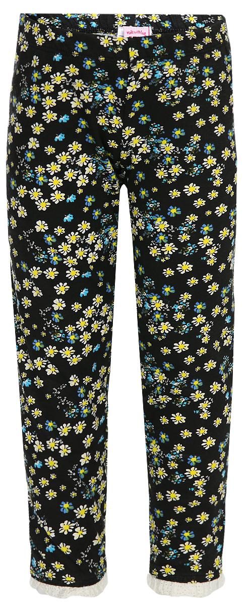 Брюки для девочки Sela, цвет: черный, белый, голубой. PLGs-515/522-8223. Размер 116, 6 лет брюки sela sela se001emzom27
