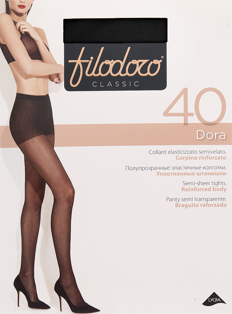 Колготки женские Filodoro Classic Dora 40, цвет: Nero (черный). SNL-411949. Размер 5 колготки женские filodoro classic oda 40 elegance цвет nero черный c113128fc размер 5 maxi xl