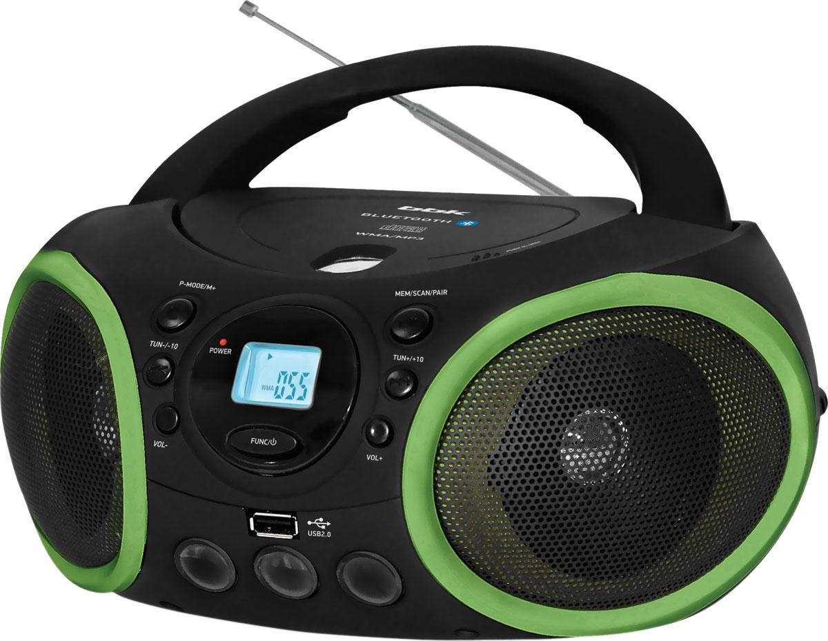 BBK BX150BT, Black Green CD/MP3 магнитолаBX150BTСтильная, многофункциональная и удобная в обращении магнитола BX150BT будет приятным дополнением как в интерьере современной квартиры, так и загородного дома или на природе. Наличие USB-порта и линейного аудиовхода AUX IN позволяет подключить к магнитоле практически все внешние источники сигнала - flash-плеер, телефон, смартфон и др. Модель поддерживает протокол A2DP, что дает возможность подключить ее к большинству устройств, имеющих Bluetooth. Благодаря различным режимам воспроизведения можно легко наслаждаться музыкальными композициями в зависимости от предпочтений, причем всегда в отличном качестве - максимально чистое звучание достигается благодаря применению технологии подавления посторонних шумов и нежелательных помех Pure Sound.