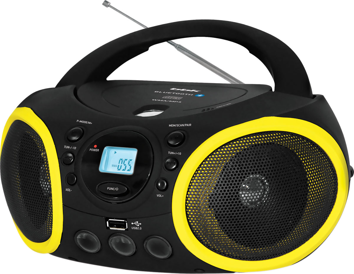 BBK BX150BT, Black Yellow CD/MP3 магнитола