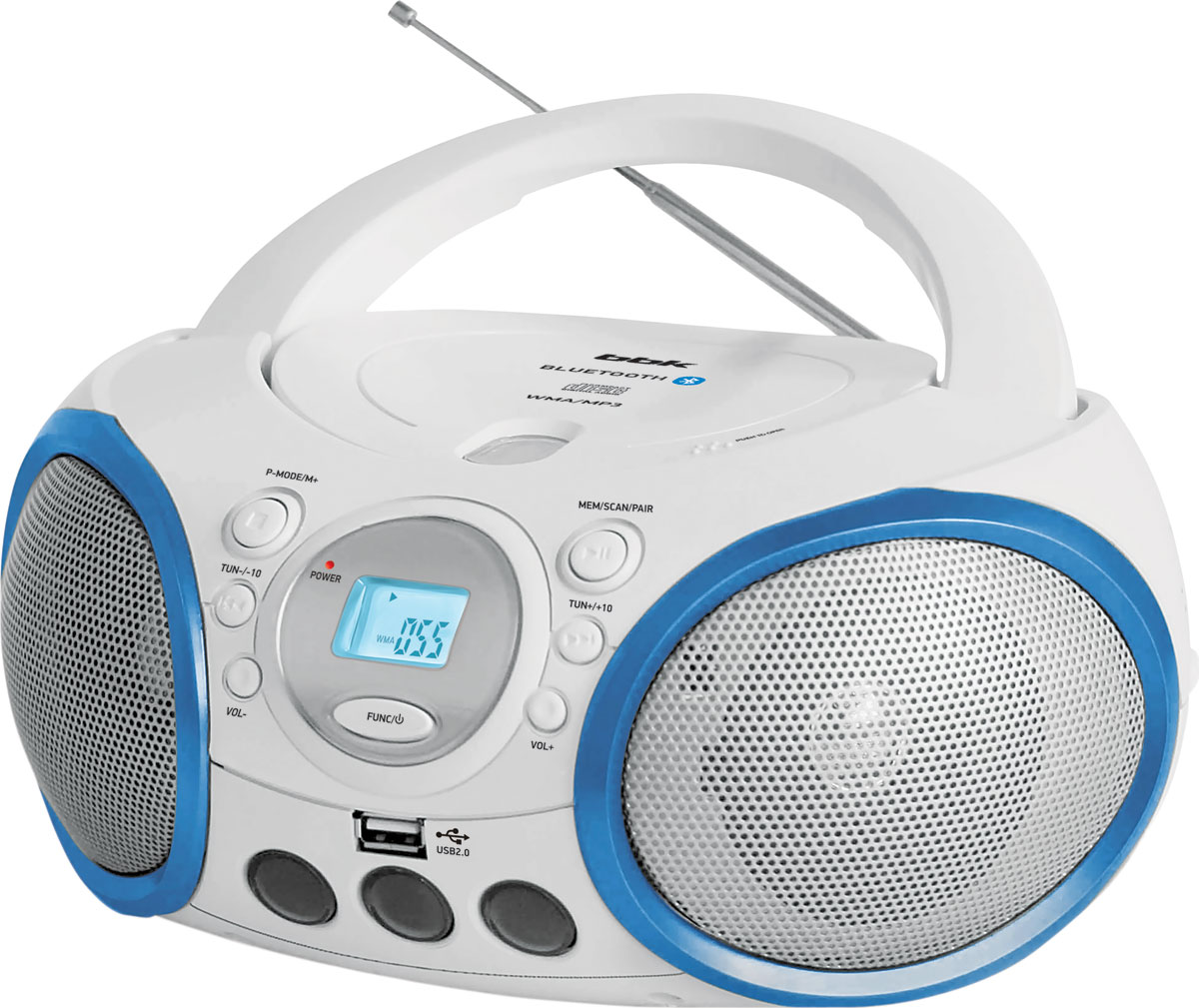 BBK BX150BT, White Cyan CD/MP3 магнитола