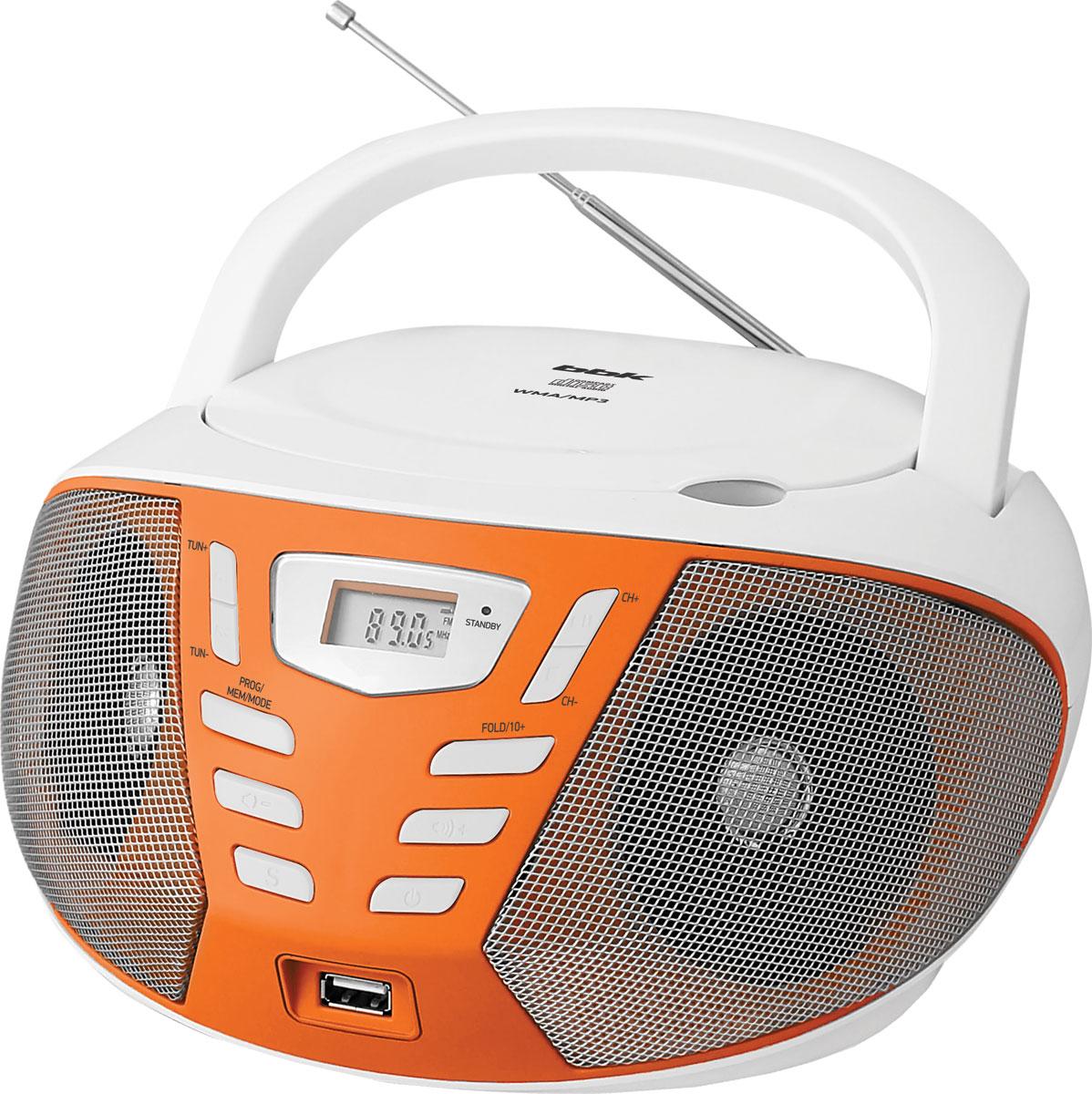 BBK BX193U, White Orange CD/MP3 магнитолаBX193UCD/MP3-магнитола BX193U – удобная во всех отношениях вещь. Компактная и простая в эксплуатации, надежная и функциональная, а благодаря технологии PURE SOUND – настоящая услада для слуха. Оснащена CD-дисководом, который поддерживает CD/CD-R/CD-RW-диски с файлами форматов WMA, MP3, USB-портом для подключения MP3-плеера и flash-носителя, разъемом AUX IN для подсоединения внешних аудиоустройств. Доступны функции воспроизведения в программируемом (P-MODE) и произвольном (RANDOM) порядке. Встроен цифровой FM-тюнер, а электронное управление настройкой с отображением радиочастот на дисплее значительно облегчит эксплуатацию. Модель представлена в четырех цветовых решениях: черный /серый, белый/зеленый, черный/оранжевый, белый/оранжевый.