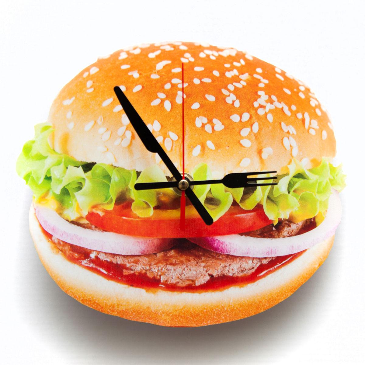 Часы настенные Magellanno Бургер, кварцевые, цвет: желтый, 21 х 21 см золотой браслет с часов марка модной platinum часов реального позолоченные 21 см уникальный раунда цепи