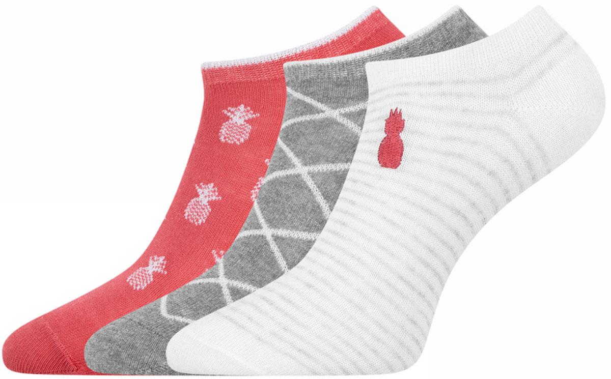 Носки женские oodji Ultra, цвет: разноцветный, 3 пары. 57102603T3/42246/4. Размер 35/37 jd коллекция светло телесный 12 пар носков 15d две кости размер