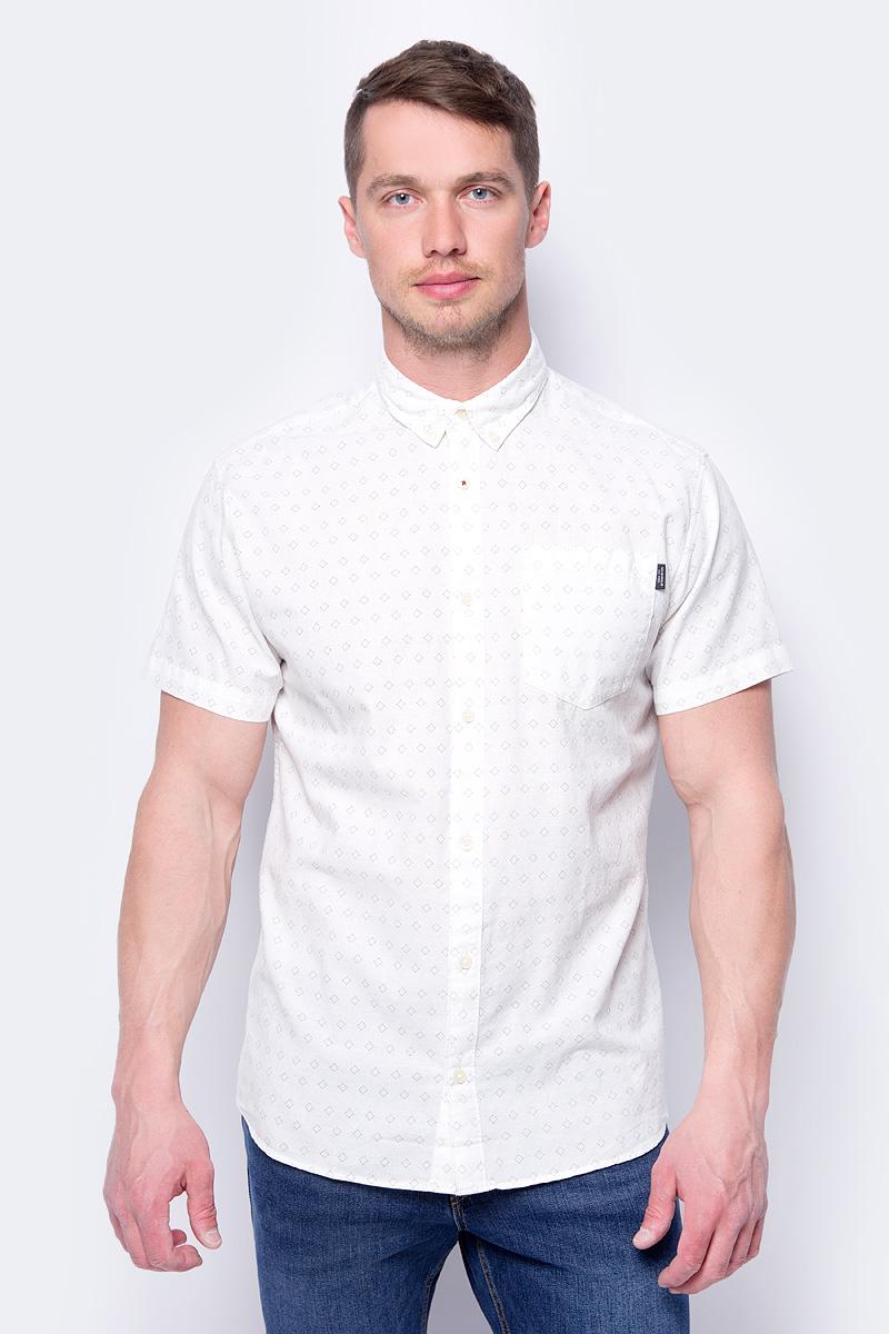 Рубашка мужская Jack & Jones, цвет: белый. 12134124. Размер M (48) галстук jack jones 214199028 jackjones