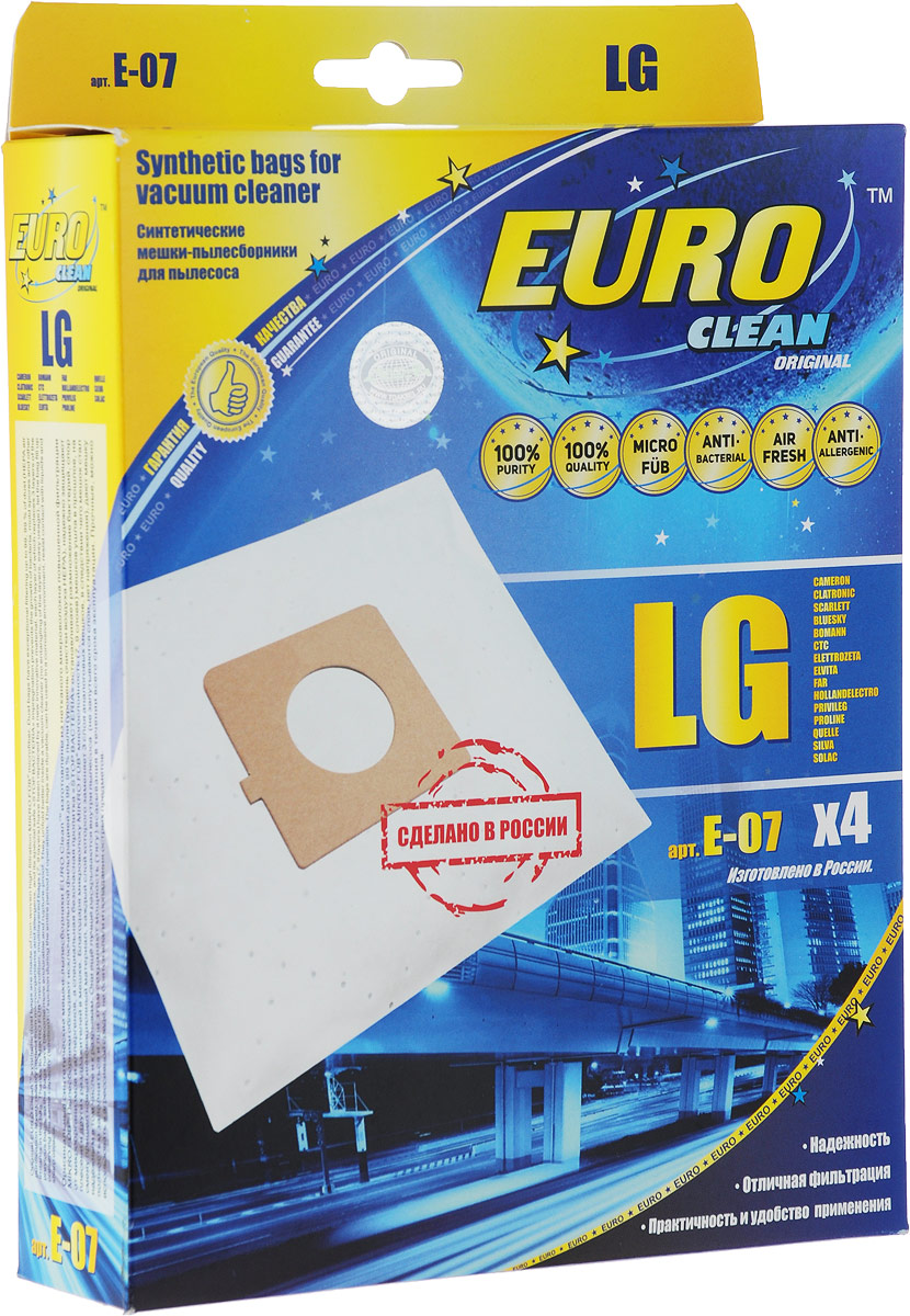 Euro Clean E-07 пылесборник, 4 шт пылесборник для сухой уборки euro clean e 07