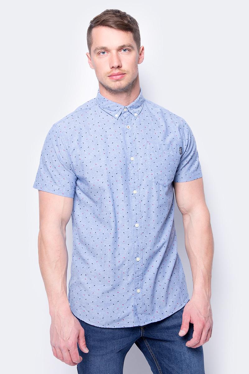 Рубашка мужская Jack & Jones, цвет: синий. 12134124. Размер M (48) рубашка мужская jack wolfskin hot springs shirt цвет синий 1402331 7630 размер m 46