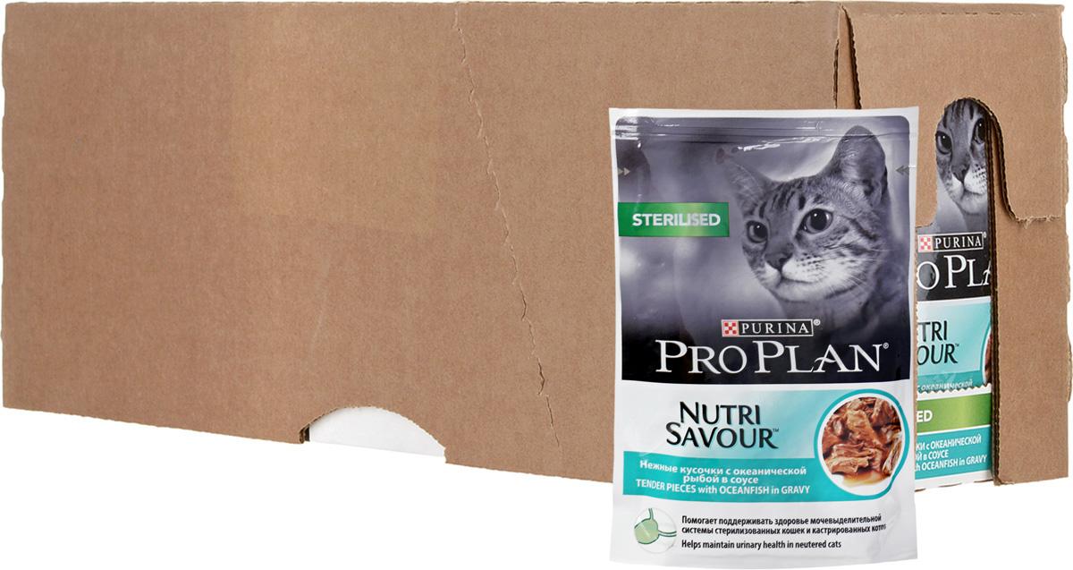 Корм консервированный Pro Plan, для стерилизованных кошек, с океанической рыбой в соусе, 24 шт x 85 г корм консервированный pro plan для взрослых кошек с идейкой желе 24 шт x 85 г