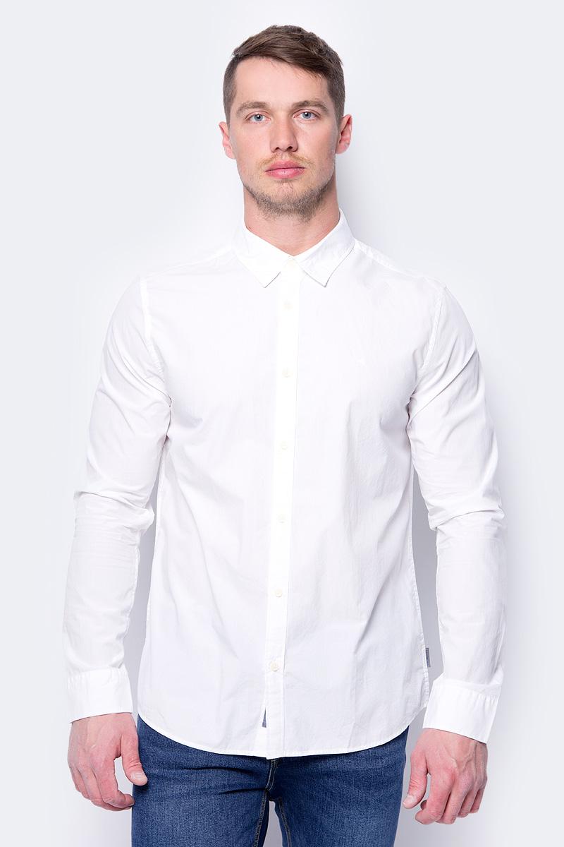 Рубашка мужская Calvin Klein Jeans, цвет: белый. J30J307013_1120. Размер XXL (52/54) куртка мужская calvin klein jeans цвет синий j30j305551 4020 размер xxl 52 54