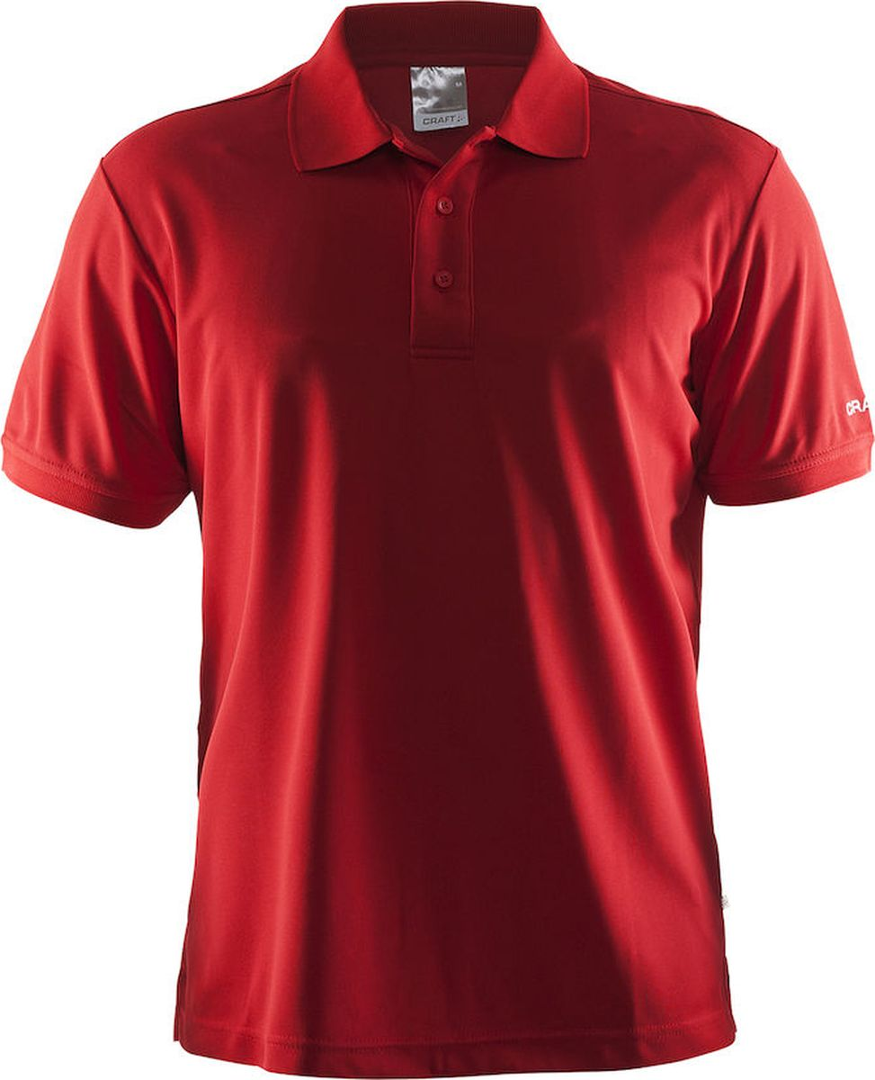 Поло мужское Craft Pique, цвет: красный. 192466/1430. Размер S (46)192466/1430Повседневная футболка-поло на трех пуговицах. Мягкая и влагоотводящая ткань из полиэстеровой смеси для оптимальной терморегуляции тела.