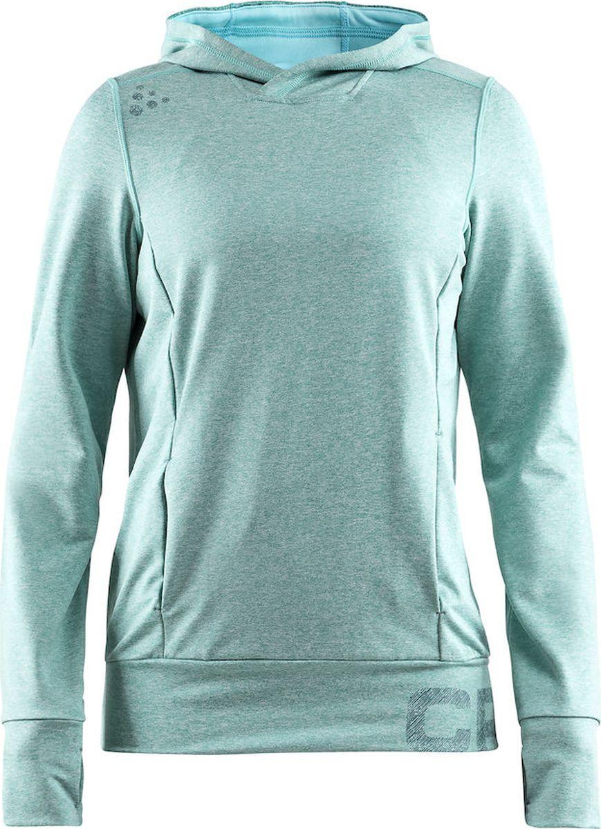 Худи женское Craft Tag, цвет: зеленый. 1905304/610200. Размер XS (44)1905304/610200Комфортная толстовка с передним карманом, вырезами для больших пальцев и капюшоном. Мягкая и влагоотводящая ткань из полиэстеровой смеси для оптимальной терморегуляции тела.