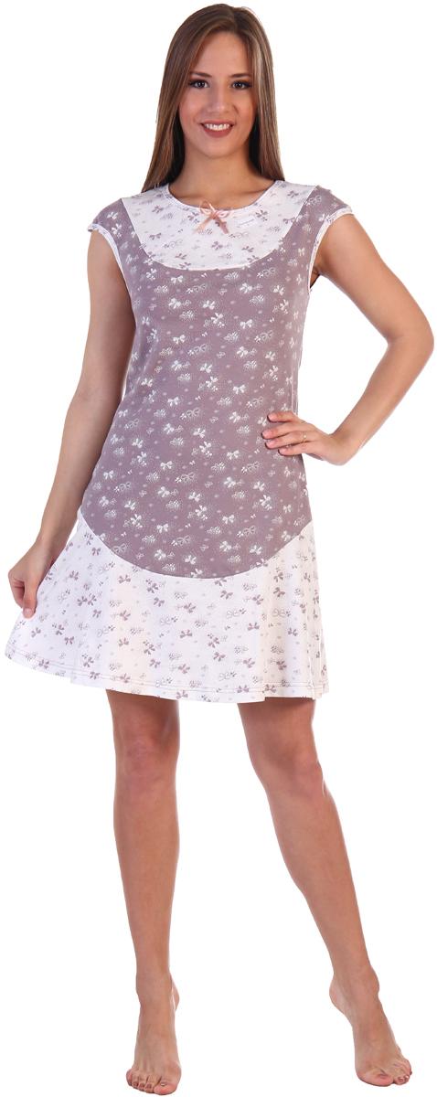 Платье домашнее Хоум Стайл, цвет: светло-коричневый, слоновая кость. ХОС-889026-58. Размер 42 (42)
