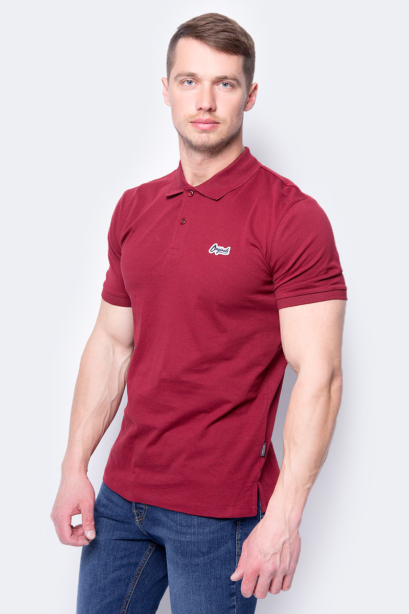 Поло мужское Jack & Jones, цвет: бордовый. 12130087. Размер M (48) рубашки jack