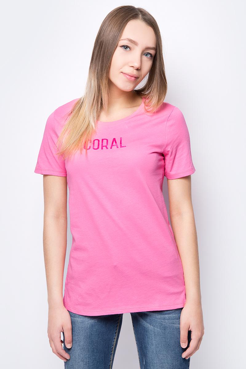 Купить Футболка женская United Colors of Benetton, цвет: розовый. 3L7NE11A0_3R5. Размер M (44/46)