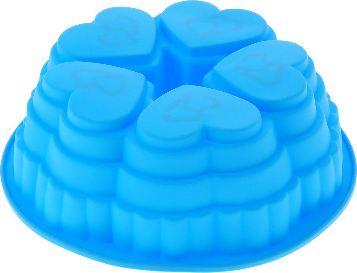 "Форма для выпечки Доляна ""Пять сердец"", цвет: голубой, 25 х 9 см"