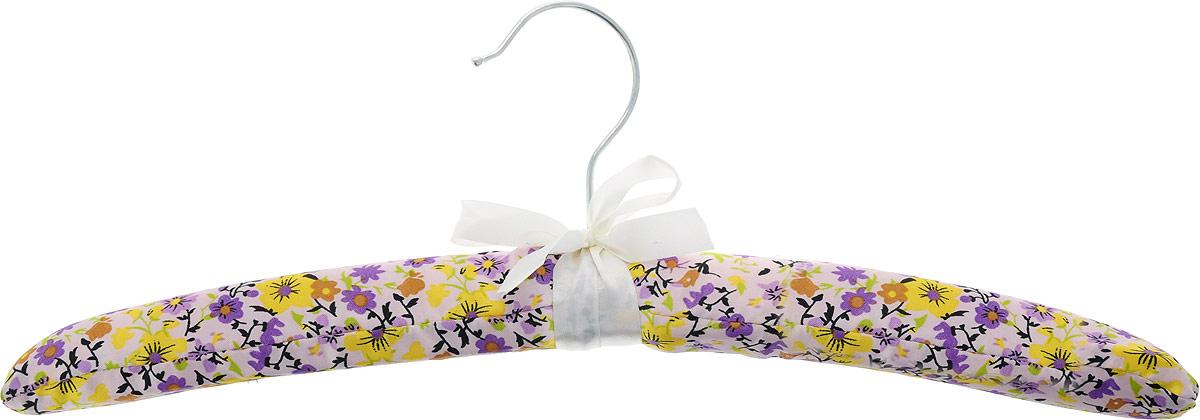 Вешалка для одежды HomeQueen, сатиновая, цвет: фиолетовый, длина 39 см70677_фиолетовые цветы