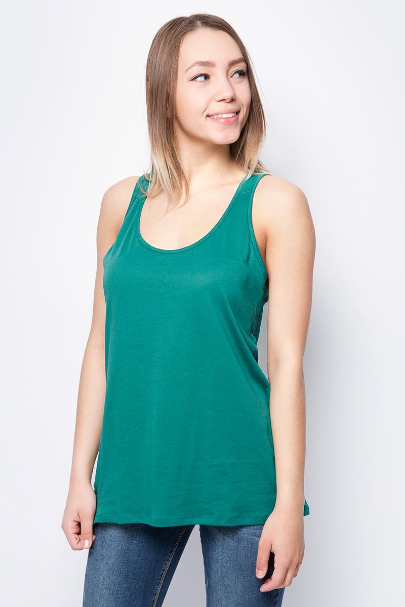 Топ женский United Colors of Benetton, цвет: зеленый. 3L7NE8342_2A3. Размер S (42/44)3L7NE8342_2A3Женский топ от United Colors of Benetton выполнен из натурального хлопка. На спинке модель присборена на резинку.