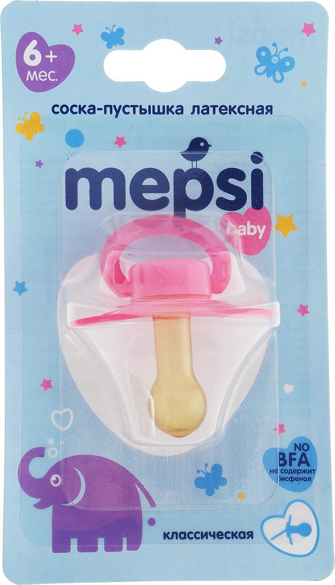 Mepsi Соска-пустышка латексная классическая от 6 месяцев цвет розовый