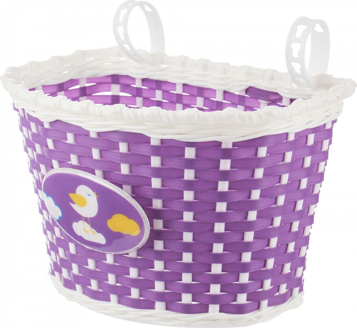 Велокорзина Stern Bicycle Basket, цвет: фиолетовый, белыйCBBK-1VI.Детская пластиковая корзина для перевозки и хранения игрушек украсит велосипед вашего ребенка. Крепится на руль.