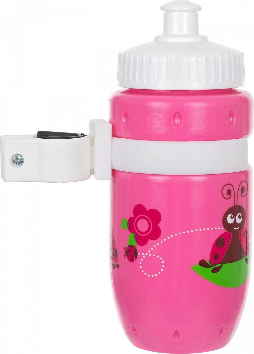 Фляга велосипедная Stern Water Bottle, с держателем, цвет: розовый, белый, 350 мл