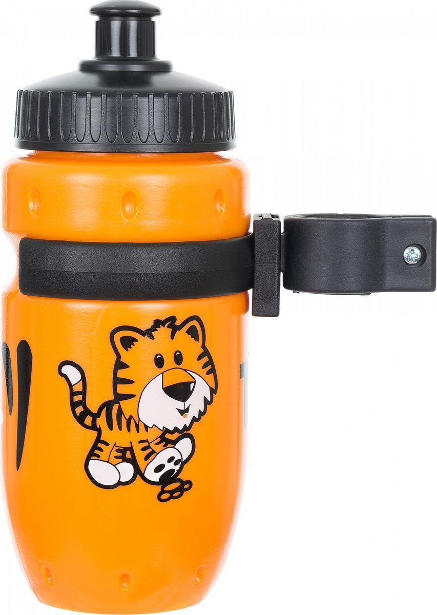 Фляга велосипедная Stern Water Bottle, с держателем, цвет: оранжевый, черный, 350 мл