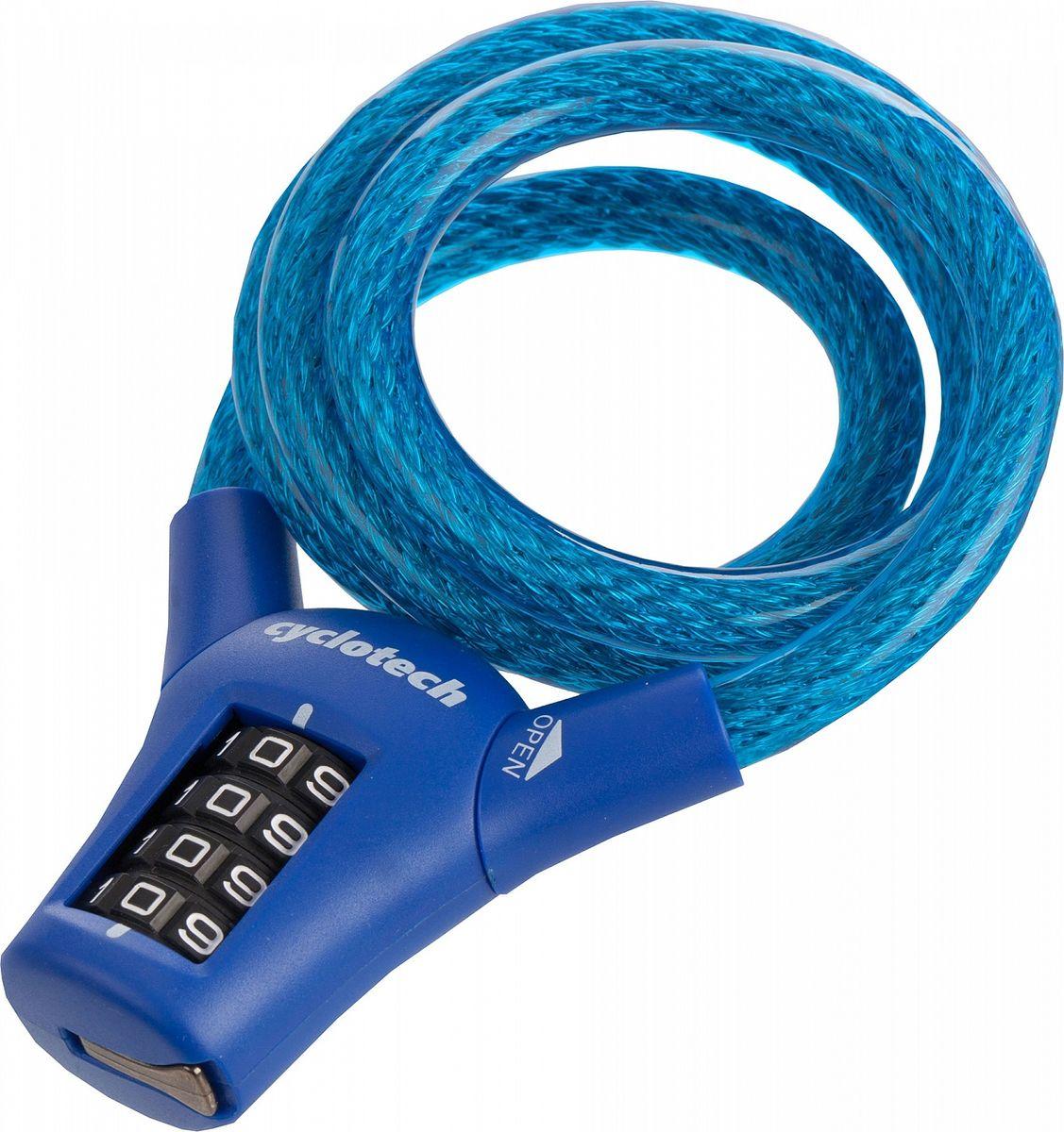 Велозамок кодовый Cyclotech, цвет: синий, диаметр 10 мм, длина 90 см велозамок