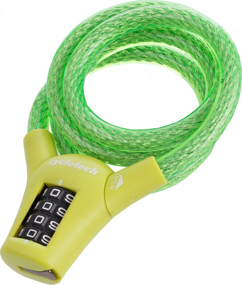 """Велозамок кодовый """"Cyclotech"""", цвет: светло-зеленый, диаметр 10 мм, длина 90 см"""