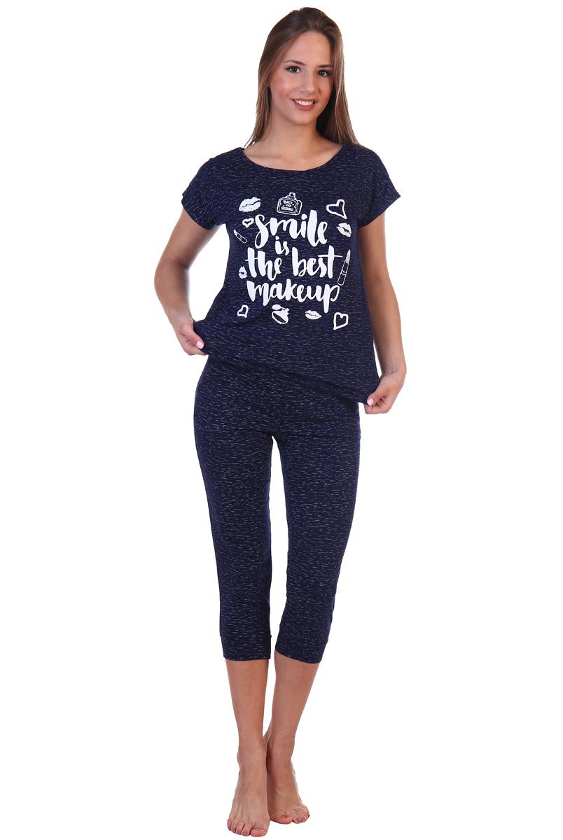 Фото Домашний комплект женский Хоум Стайл, цвет: темно-синий. ХОС-623Б015. Размер 50 (50)