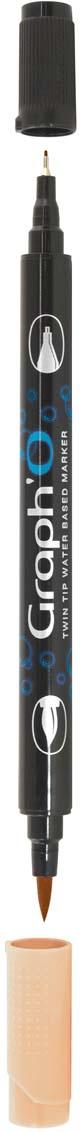 GraphIt Маркер двухсторонний акварельный GraphO цвет: 3125 коричневый капучиноGO03125Graph`O – это акварельные маркеры с двумя наконечниками – мягкой кисточкой и линером в металлической оправе для сверхточных работ. Маркеры состоят из чернил на водной основе без запаха. Палитра насчитывает 60 ярких интенсивных цветов, которые легко смешиваются друг с другом и размываются водой. Акварельные маркеры Graph`O имеют тонкий корпус, который приятно и удобно держать в руке Основные характеристики: • Количество цветов – 48 • Двусторонний маркер (наконечник в форме кисти и линер) • Линер в металлической оправе имеет толщину стержня 0,5 мм • Герметичный колпачок, препятствующий высыханию • Цвета легко размываются водой