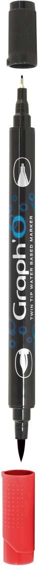 GraphIt Маркер двухсторонний акварельный GraphO цвет: 5245 красный рубиновыйGO05245Graph`O – это акварельные маркеры с двумя наконечниками – мягкой кисточкой и линером в металлической оправе для сверхточных работ. Маркеры состоят из чернил на водной основе без запаха. Палитра насчитывает 60 ярких интенсивных цветов, которые легко смешиваются друг с другом и размываются водой. Акварельные маркеры Graph`O имеют тонкий корпус, который приятно и удобно держать в руке Основные характеристики: • Количество цветов – 48 • Двусторонний маркер (наконечник в форме кисти и линер) • Линер в металлической оправе имеет толщину стержня 0,5 мм • Герметичный колпачок, препятствующий высыханию • Цвета легко размываются водой