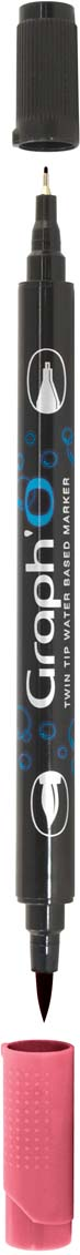 GraphIt Маркер двухсторонний акварельный GraphO цвет: 5250 красный макGO05250Graph`O – это акварельные маркеры с двумя наконечниками – мягкой кисточкой и линером в металлической оправе для сверхточных работ. Маркеры состоят из чернил на водной основе без запаха. Палитра насчитывает 60 ярких интенсивных цветов, которые легко смешиваются друг с другом и размываются водой. Акварельные маркеры Graph`O имеют тонкий корпус, который приятно и удобно держать в руке Основные характеристики: • Количество цветов – 48 • Двусторонний маркер (наконечник в форме кисти и линер) • Линер в металлической оправе имеет толщину стержня 0,5 мм • Герметичный колпачок, препятствующий высыханию • Цвета легко размываются водой