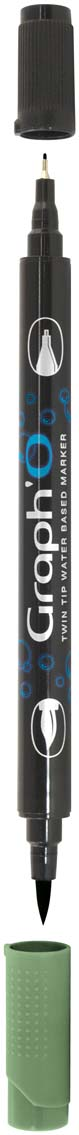 GraphIt Маркер двухсторонний акварельный GraphO цвет: 8270 зеленый тосканаGO08270Graph`O – это акварельные маркеры с двумя наконечниками – мягкой кисточкой и линером в металлической оправе для сверхточных работ. Маркеры состоят из чернил на водной основе без запаха. Палитра насчитывает 60 ярких интенсивных цветов, которые легко смешиваются друг с другом и размываются водой. Акварельные маркеры Graph`O имеют тонкий корпус, который приятно и удобно держать в руке Основные характеристики: • Количество цветов – 48 • Двусторонний маркер (наконечник в форме кисти и линер) • Линер в металлической оправе имеет толщину стержня 0,5 мм • Герметичный колпачок, препятствующий высыханию • Цвета легко размываются водой