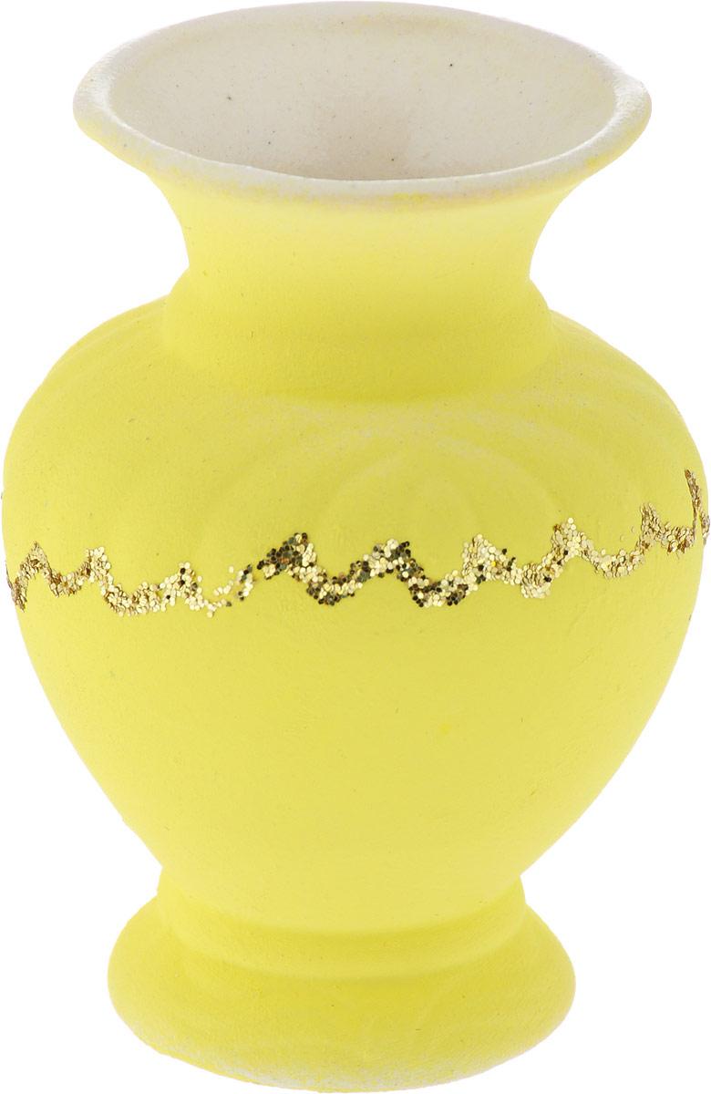 Ваза Керамика ручной работы Стасик, цвет: желтый, малая ваза сияние цвет желтый 51 см 1984744