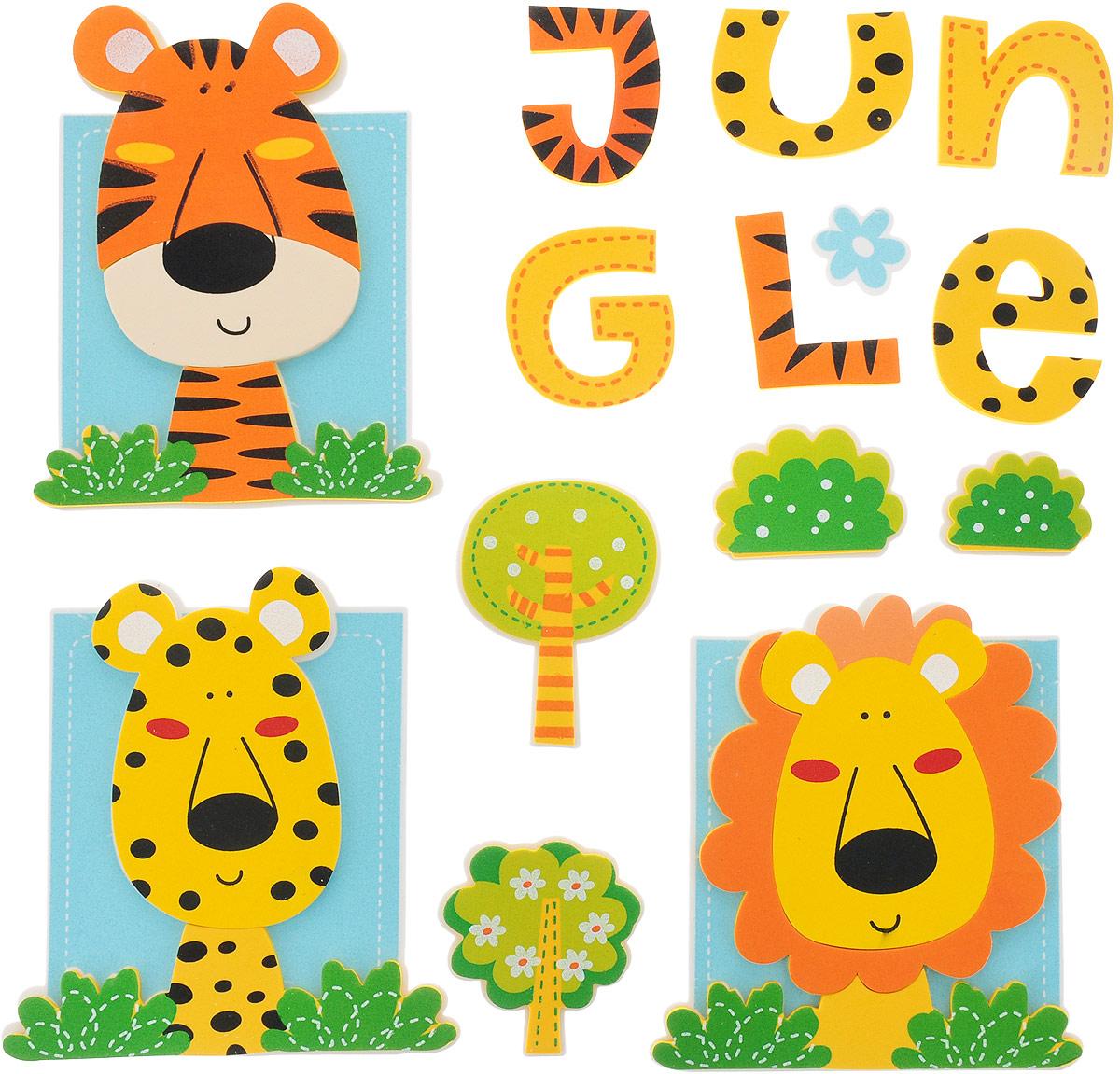 Room Decor Наклейка интерьерная Детские картинки Тигр Леопард Лев 48,5 х 40 см