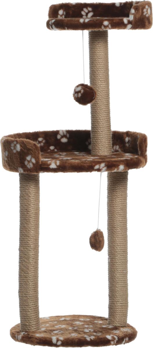 Когтеточка  Меридиан , с игрушкой и площадкой, цвет: коричневый, белый, 43 х 43 х 100 см - Когтеточки и игровые комплексы