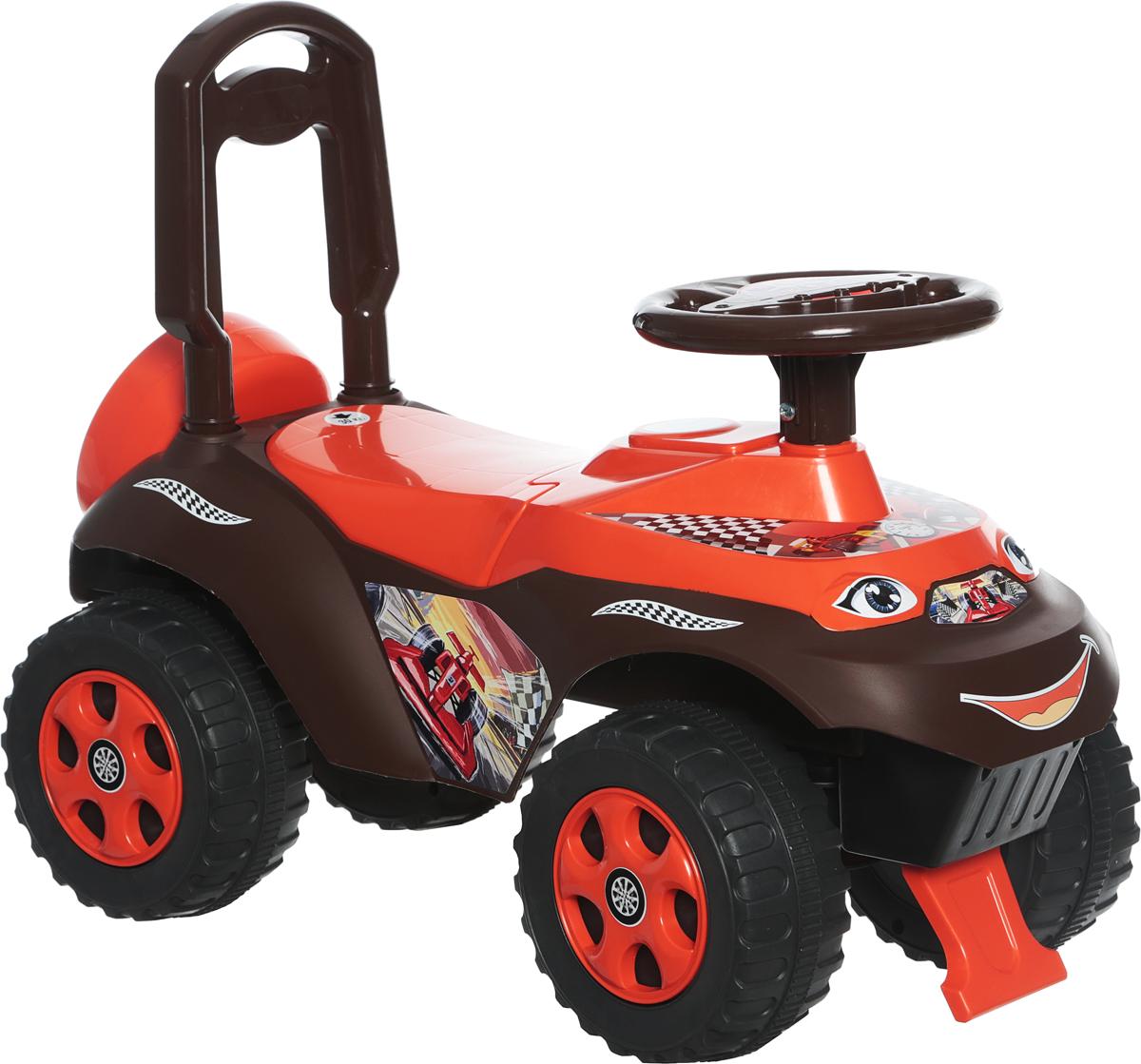 Doloni Машинка-каталка Автошка цвет оранжевый коричневый