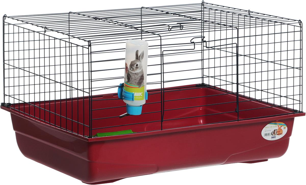 Клетка для грызунов Savic Nero De Luxe, цвет: бордовый, 80 х 50 х 44 см5208-5901_бордовыйДля морских свинок, кроликов, хорьков. Яркая просторная клетка укомплектована поилкой, сенником и миской для корма. Дверка-трап для выхода животного на волю, вторая дверка на фасаде. Легкая сборка без инструментов. Верх клетки крепится с двух сторон защелками и легко снимается, когда клетку необходимо почистить.