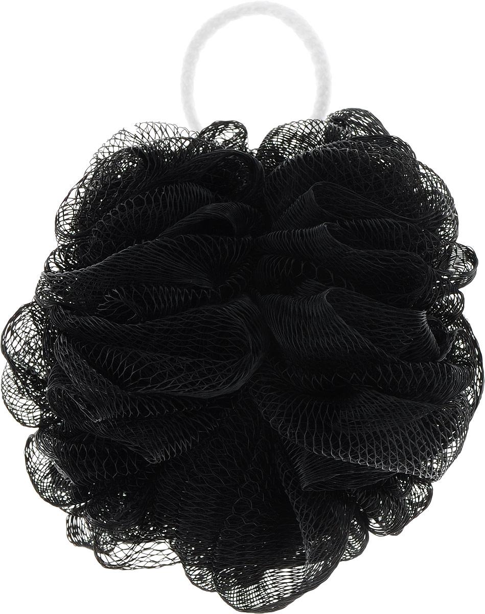 Мочалка массажная Eva Бантик, средней жесткости, цвет: черный, диаметр 12 смМС50_черный