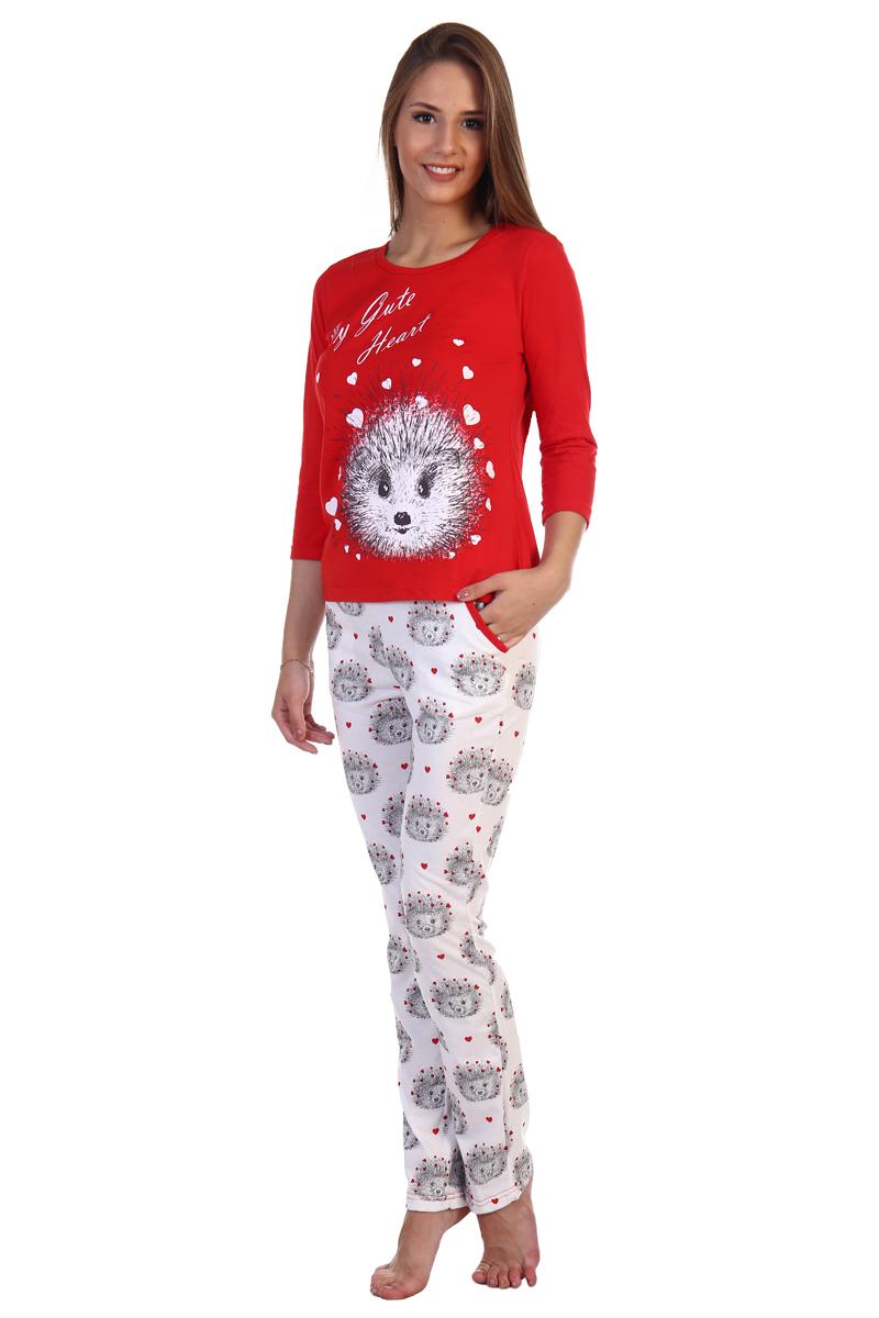 Фото Домашний комплект женский Хоум Стайл, цвет: красный, белый. ХОС-584009-13. Размер 44 (44)