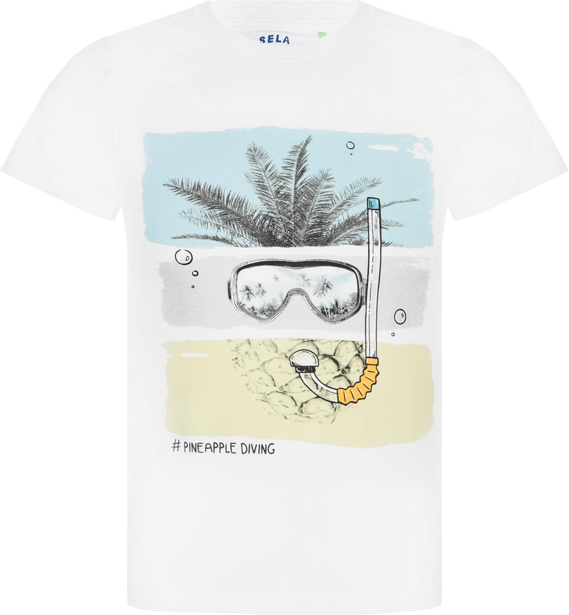 Футболка для мальчика Sela, цвет: белый. Ts-711/566-8234. Размер 116, 6 лет футболка для мальчика sela цвет белый ts 711 567 8234 размер 116 6 лет