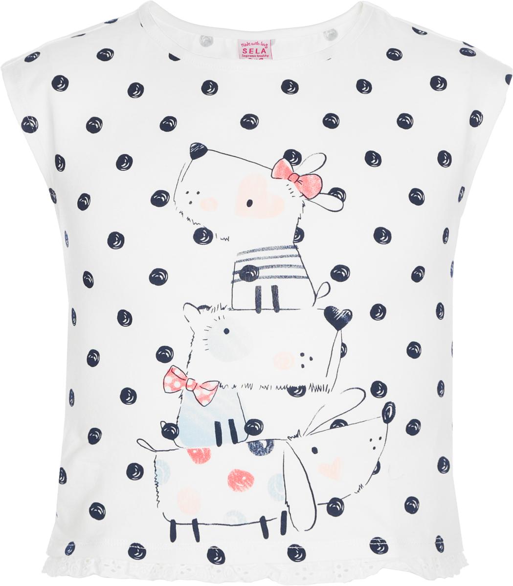 Джемпер для девочки Sela, цвет: слоновая кость. Ts-511/499-8234. Размер 116, 6 лет футболка для девочки sela цвет молочный белый ts 511 476 8122 размер 116 6 лет