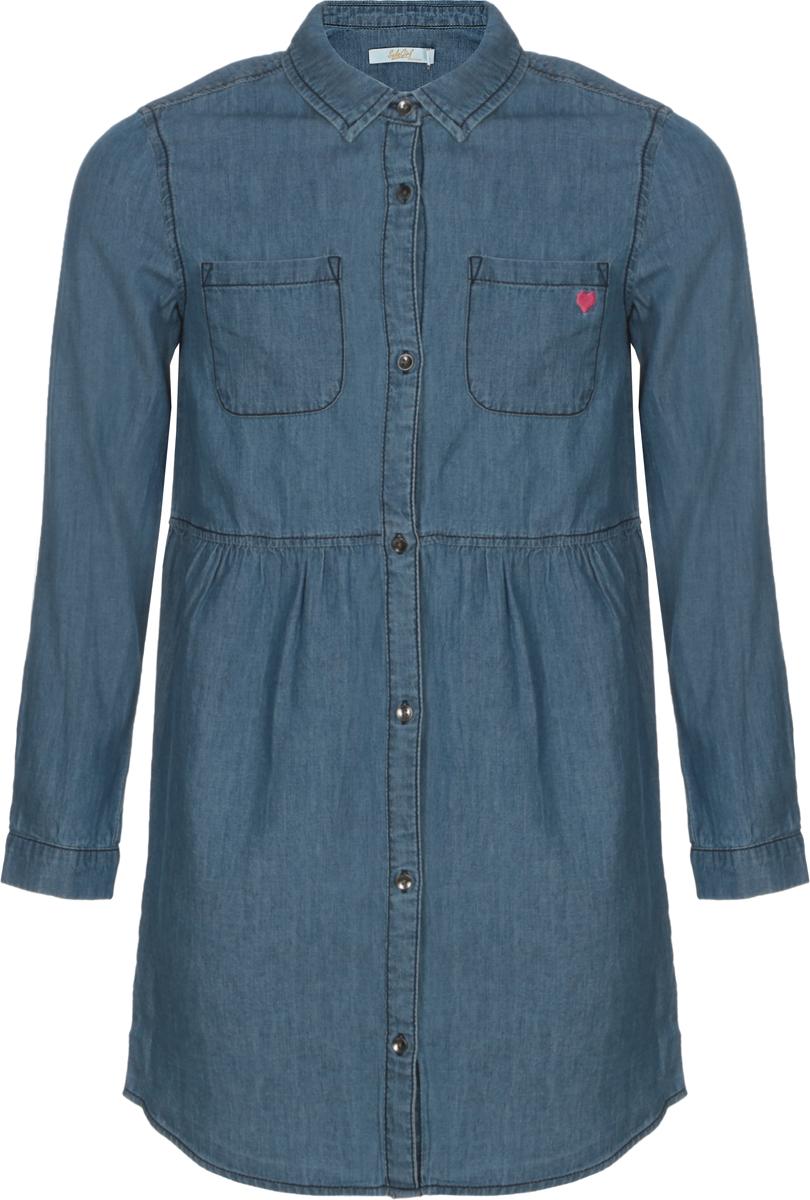 Платье для девочки Sela, цвет: синий. Dj-637/854-8122. Размер 152, 12 лет сарафан для девочки sela цвет мультиколор dsl 617 893 8243 размер 152 12 лет