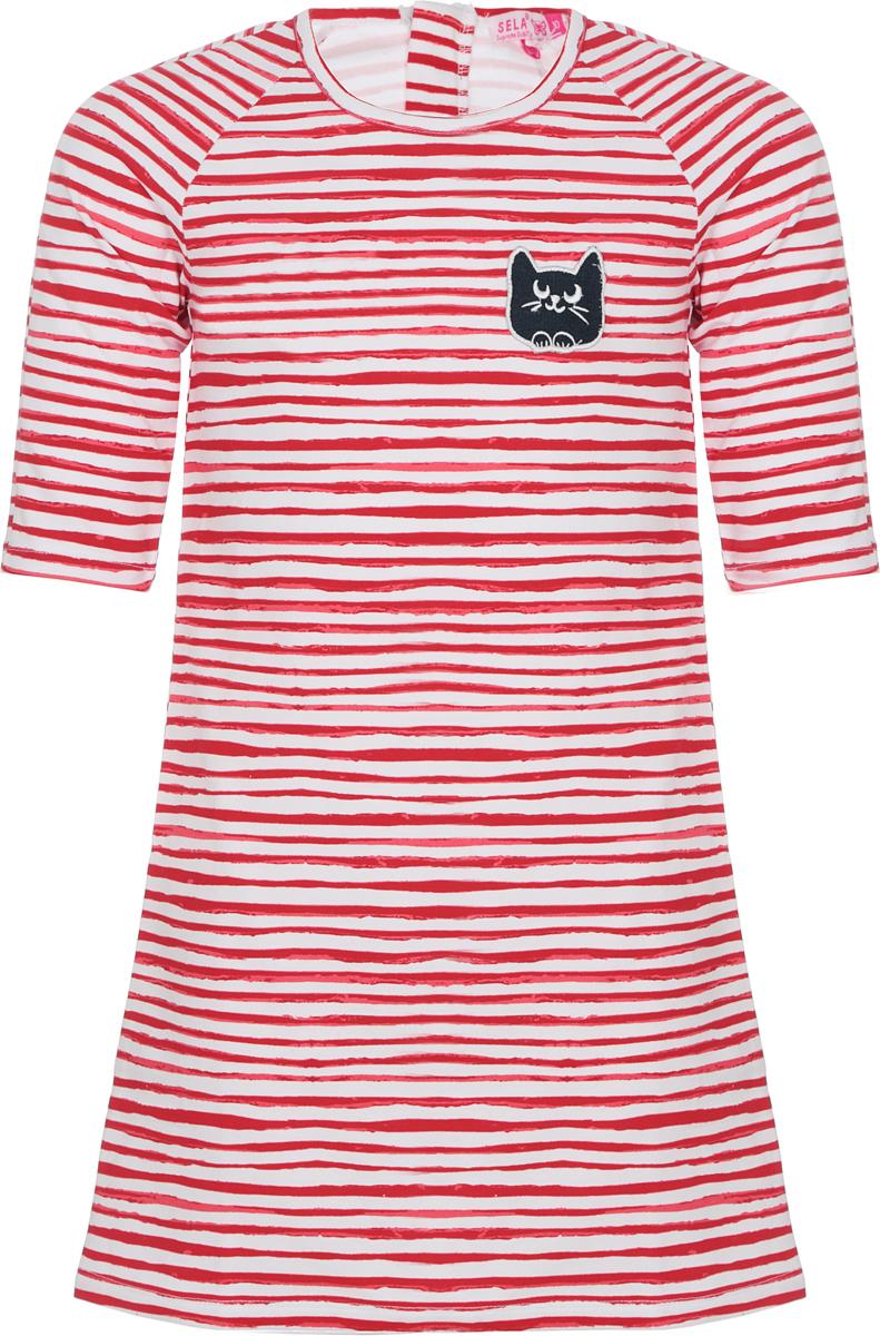 Платье для девочки Sela, цвет: красный. DK-617/890-8273. Размер 152, 12 лет лонгслив для девочки sela цвет белый t 611 1216 8273 размер 152 12 лет