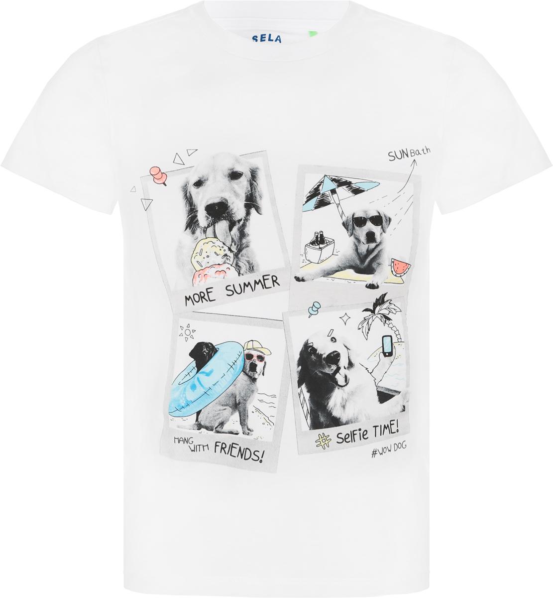 Футболка для мальчика Sela, цвет: белый. Ts-711/567-8234. Размер 116, 6 лет футболка для девочки sela цвет молочный белый ts 511 476 8122 размер 116 6 лет