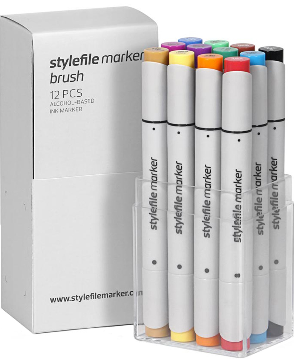 Stylefile Набор маркеров Brush основные цвета a 12 шт