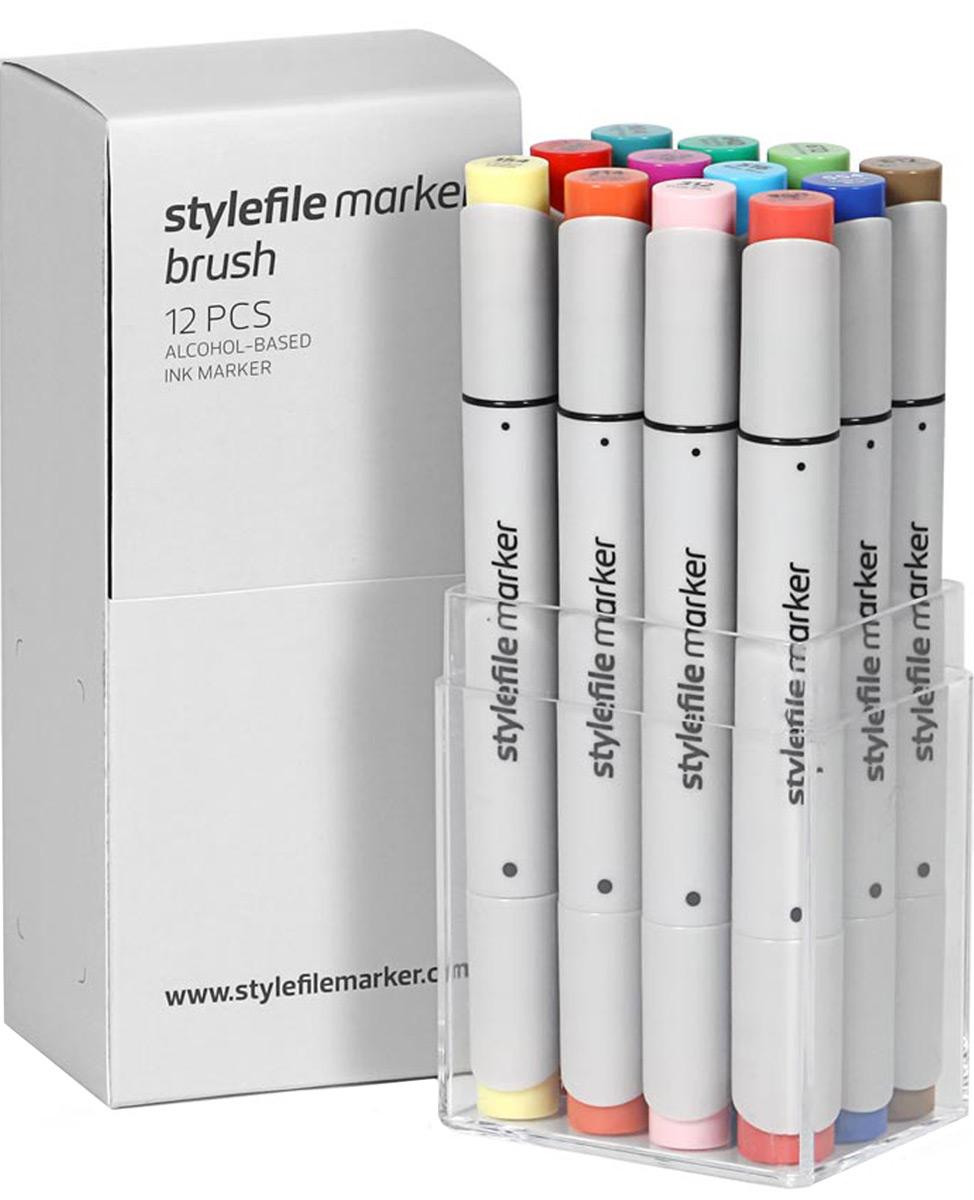 Stylefile Набор маркеров Brush основные цвета b 12 штSFSBR12MBВ наборе:12 двухсторонних маркеров на спиртовой основе StyleFile BrushХудожественный маркер на спиртовой основе StyleFile Brush.Разные наконечники с двух сторон: широкое перо и кистьМаркеры специально предназначены для дизайнеров, граффити-художников, иллюстраторов и студентов художественных ВУЗов. Наконечники для маркеров разрабатываются в Японии по специальной технологии.