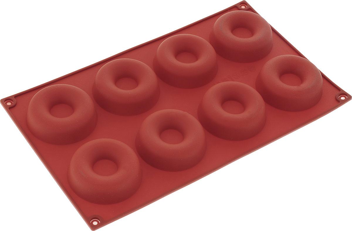 Форма для выпечки Доляна Пончики, силиконовая, цвет: коричневый, 29 х 17 х 2 см, 8 ячеек форма для выпечки nadoba mila силиконовая 6 ячеек 29 х 17 х 3 7 см 762017