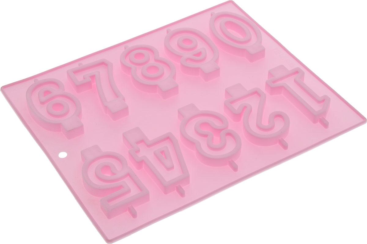 Форма для выпечки Доляна Арифметика, 26 х 21 см, 10 ячеек, цвет: светло-розовый811919_светло-розовый
