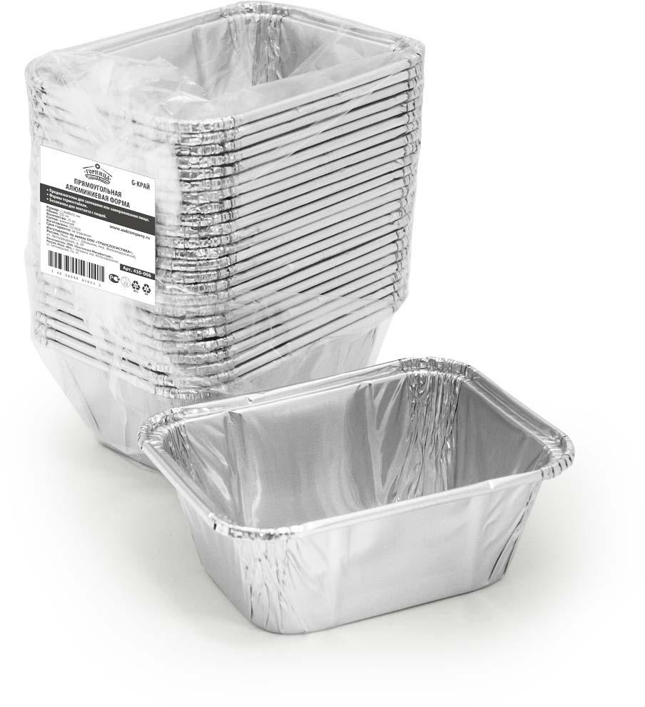 Форма для выпечки Горница, прямоугольная, G-край, 250 мл, 25 шт410-006Форма для выпечки Горница изготовлена из алюминия. Форма выдерживает любые температурные режимы. Используется в духовых шкафах, а та же на открытом огне на мангалах и жаровнях. Пища в такой форме не пригорает и не прилипает к стенкам. Идеально подходит для приготовления и разогрева пищи. Возможно использование для хранения и перевозки пищи. Также ее можно использовать для замораживания. Можно использовать как одноразовую посуду.