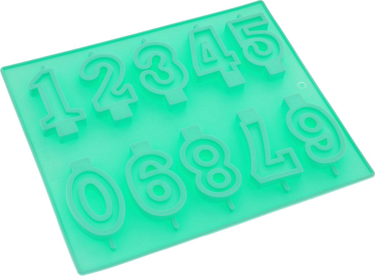 Форма для выпечки Доляна Арифметика, 26 х 21 см, 10 ячеек, цвет: мятный811919_мятный